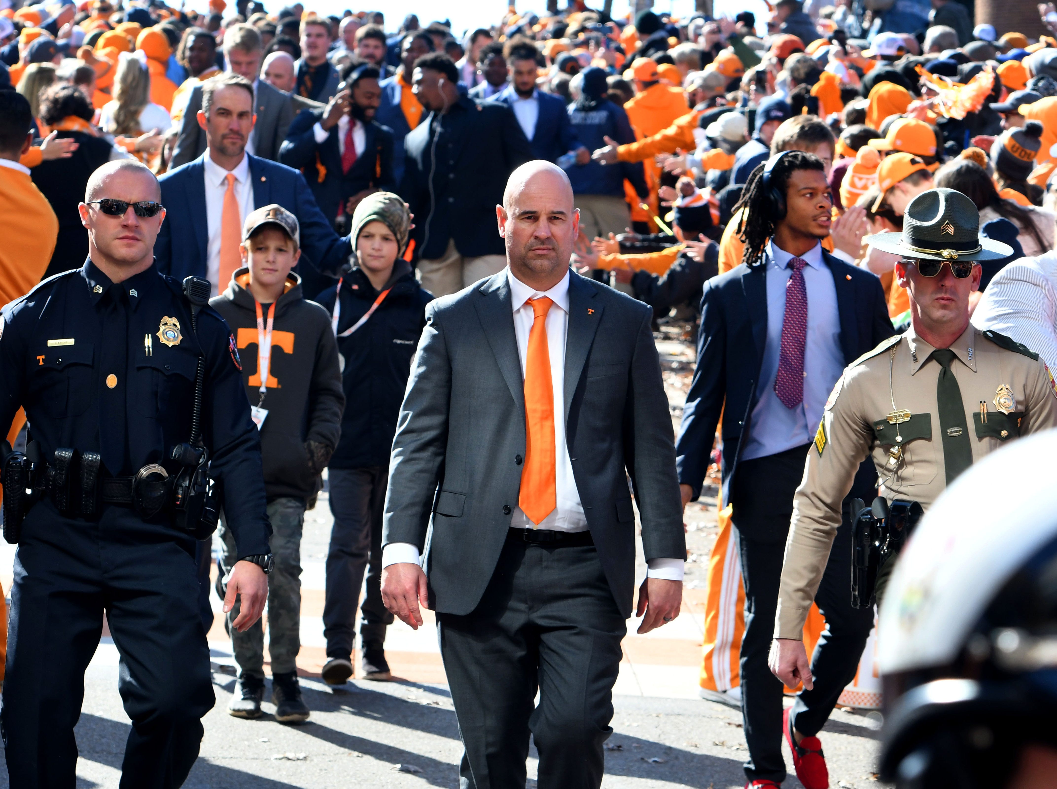 Tennessee Head Coach Jeremy Pruitt during the Vol Walk before the Kentucky game Saturday, November 10, 2018 at Neyland Stadium in Knoxville, Tenn.