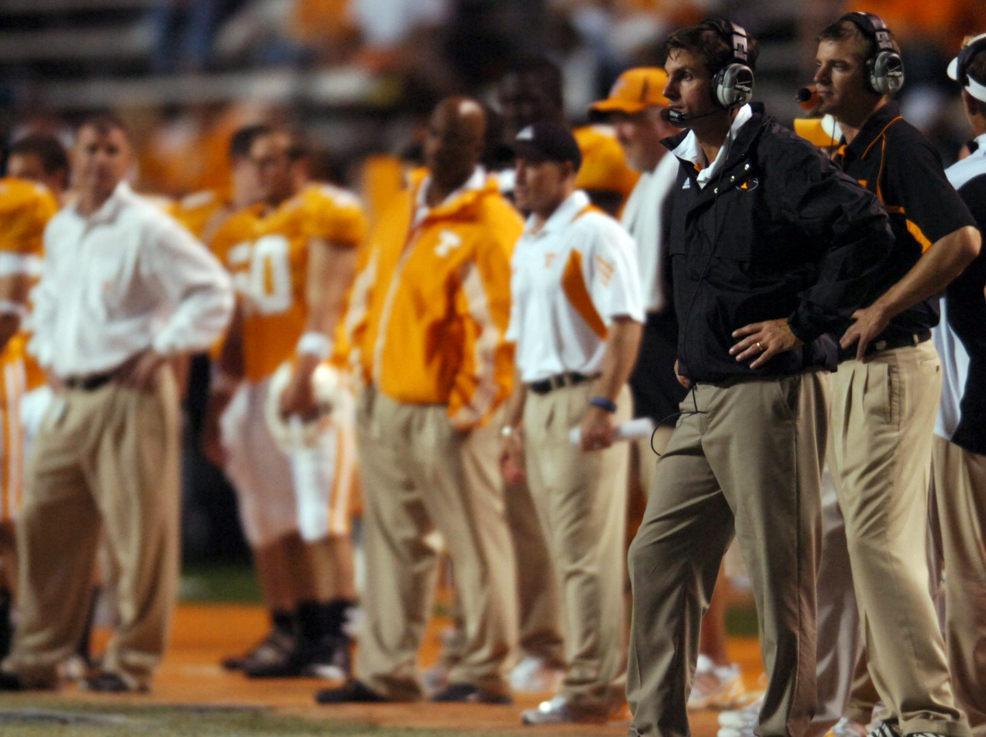 Tennessee head coach Derek Dooley looks on as the team falls behind to Oregon at Neyland Stadium on Saturday, Sept. 11, 2010. UT lost the game 48-13.