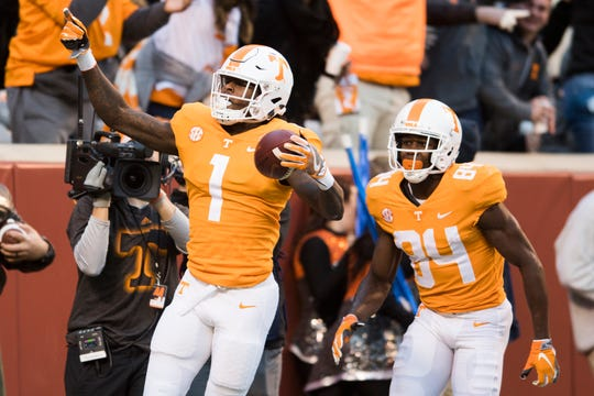 Tennessee wide receiver Marquez Callaway (1) celebrates a touchdown during a game between Tennessee and Kentucky at Neyland Stadium in Knoxville, Tennessee on Saturday, November 10, 2018.