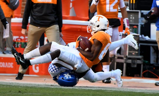Tennessee wide receiver Josh Palmer (84) during first half action in the Kentucky game Saturday, November 10, 2018 at Neyland Stadium in Knoxville, Tenn.