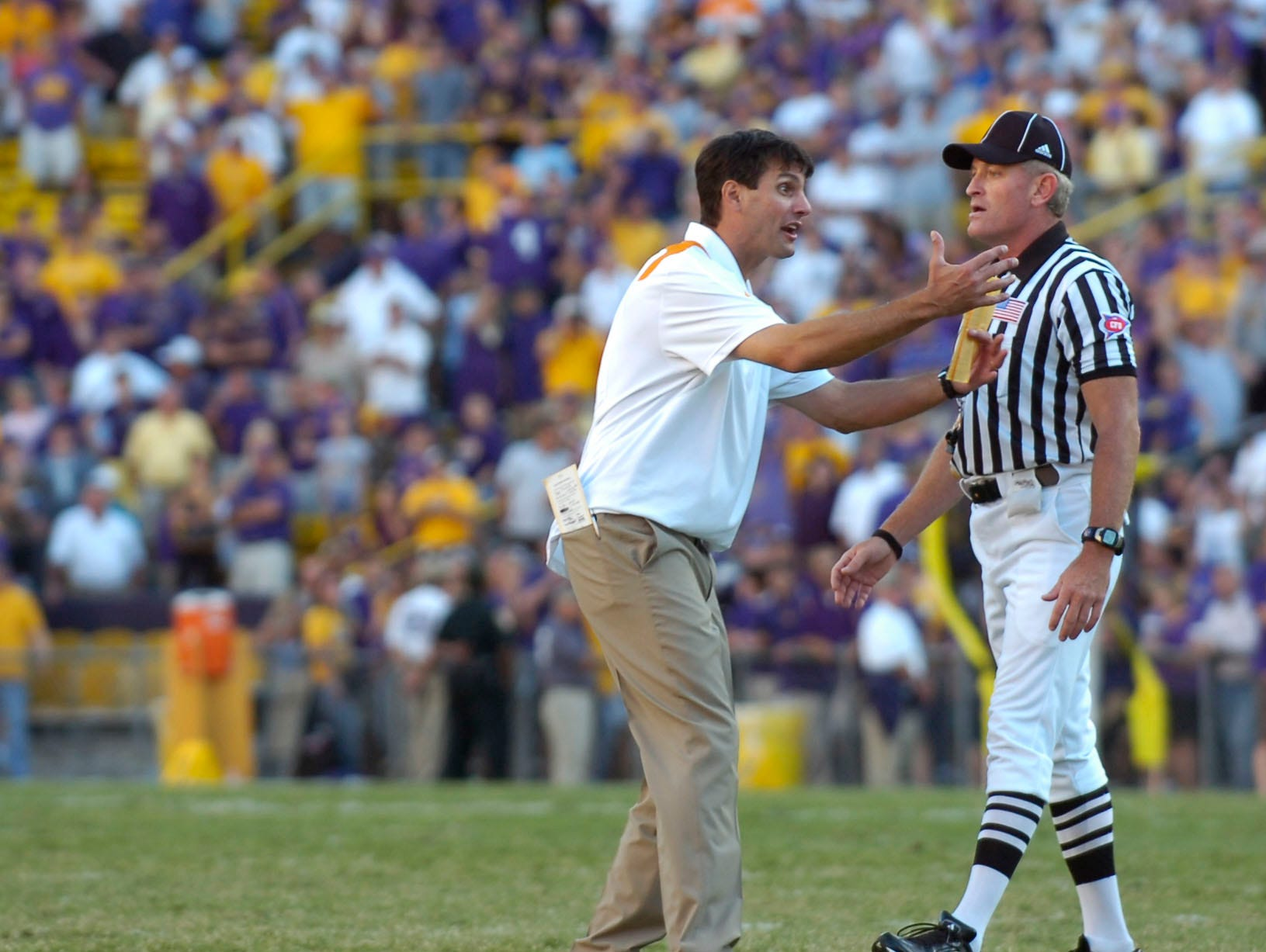 Tennesse head coach Derek Dooley reacts to the penalty against his team at Tiger Stadium in Baton Rouge, La. on Saturday, Oct. 2, 2010. UT lost the game 16-14 after a defensive penalty in the final play of the game.
