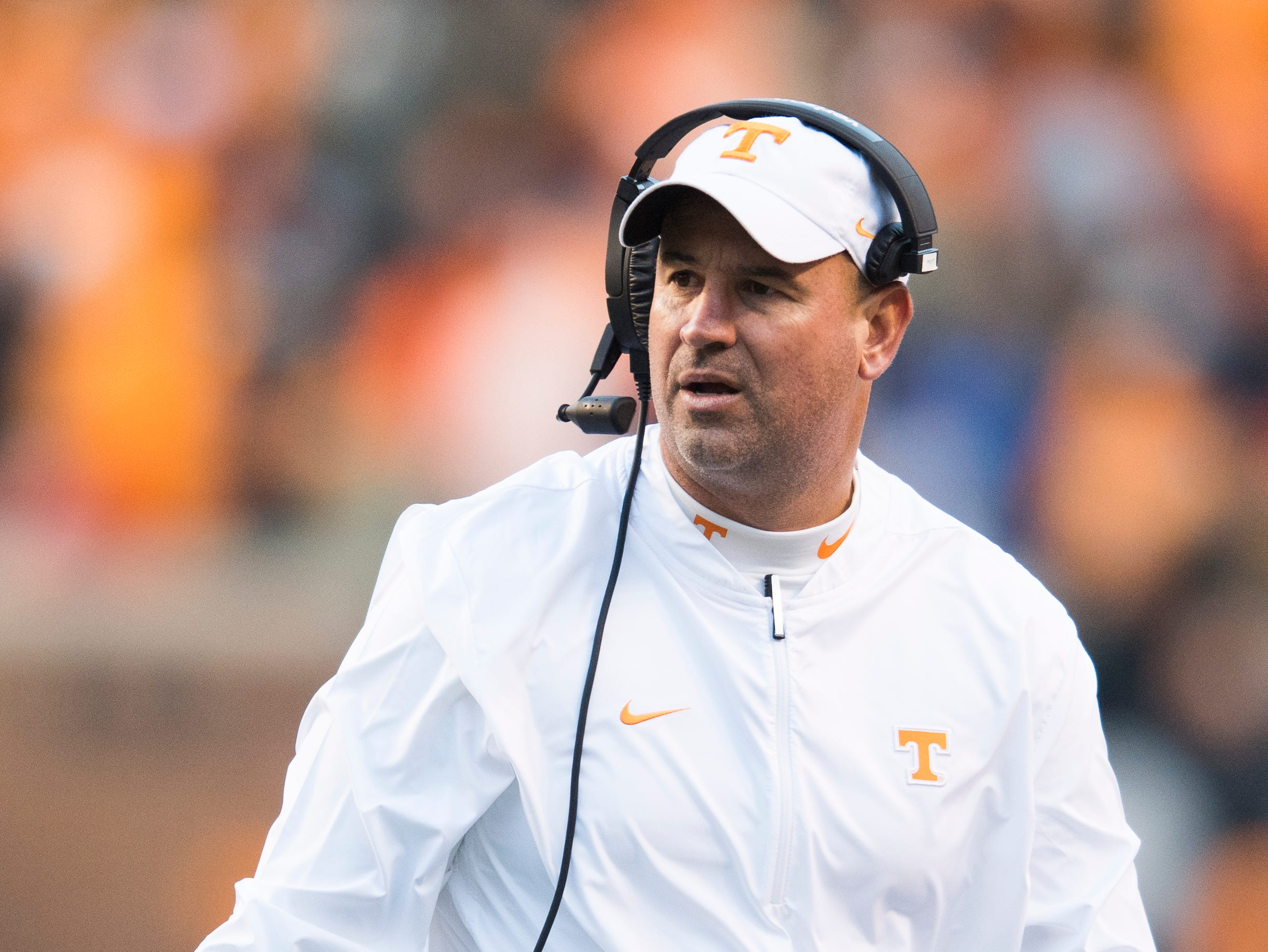 Tennessee Head Coach Jeremy Pruitt walks on the sidelines during a game between Tennessee and Kentucky at Neyland Stadium in Knoxville, Tennessee on Saturday, November 10, 2018.