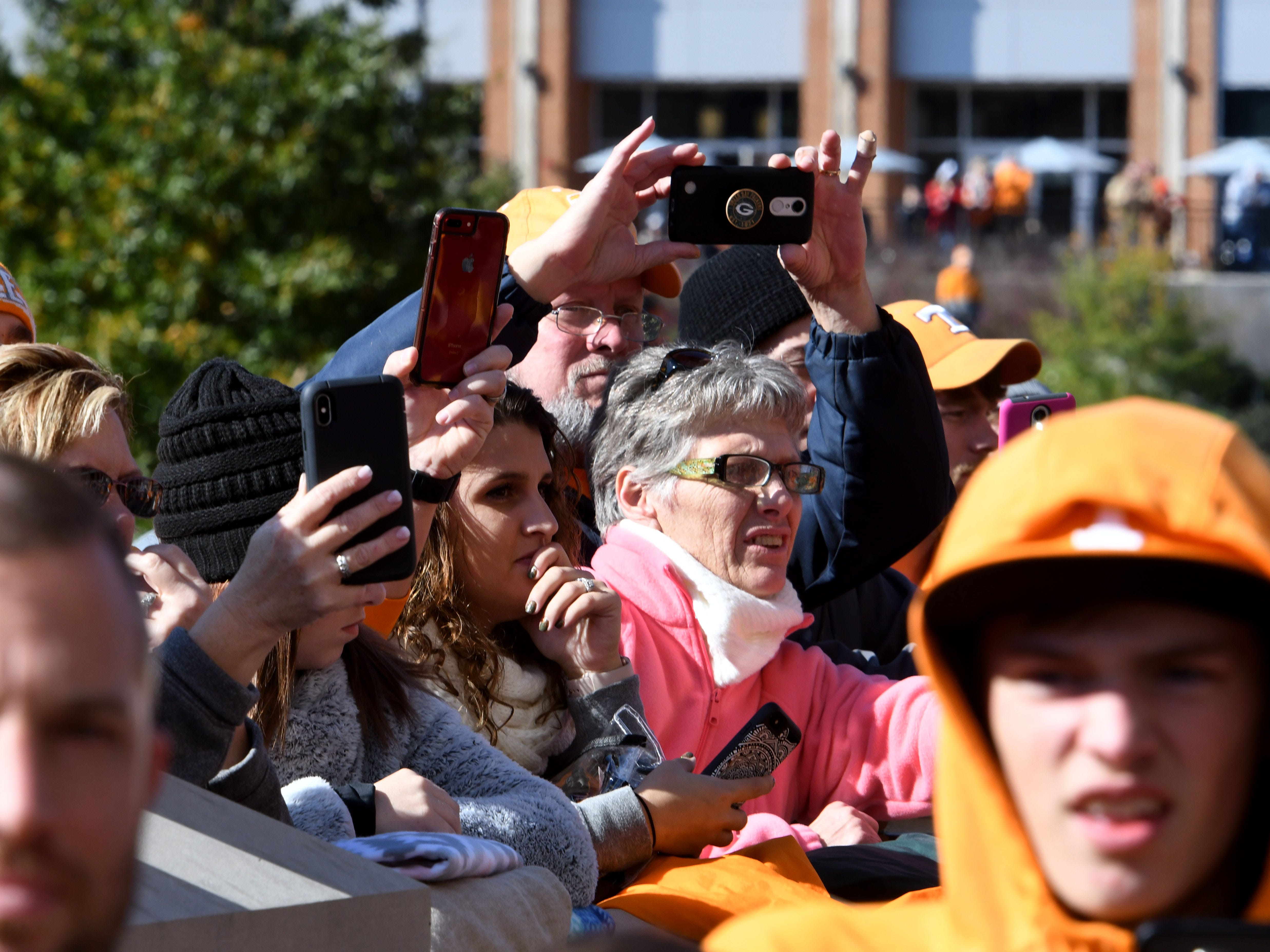 Tennessee fans capturing the Vol Walk before the Kentucky game Saturday, November 10, 2018 at Neyland Stadium in Knoxville, Tenn.
