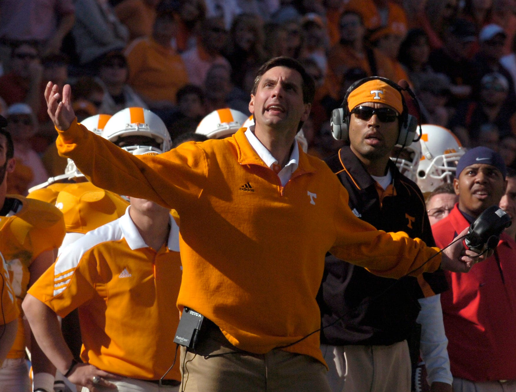 Tennessee head coach Derek Dooley reacts to a call during the game against Ole Miss at Neyland Stadium on Saturday, Nov. 13, 2010. Tennessee won the game 52-14.