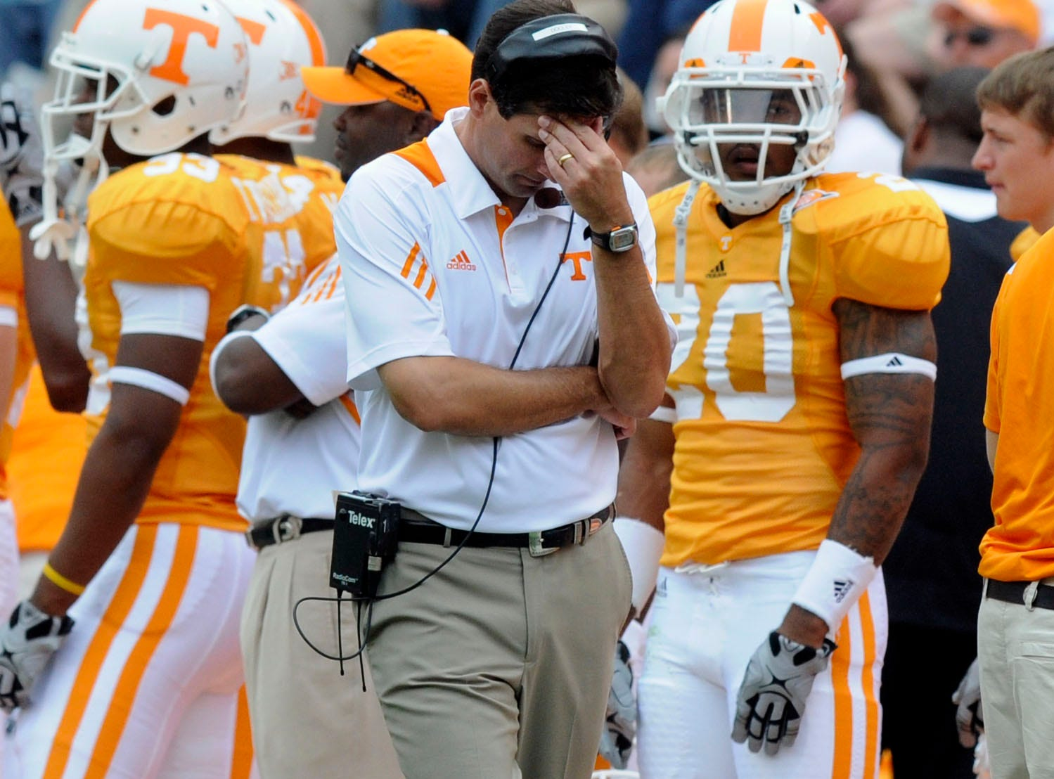 Tennessee head coach Derek Dooley was not happy with his team's performance Saturday, Sep. 25, 2010 in Neyland Stadium in Knoxville. Tennessee won 32-29 in second overtime.