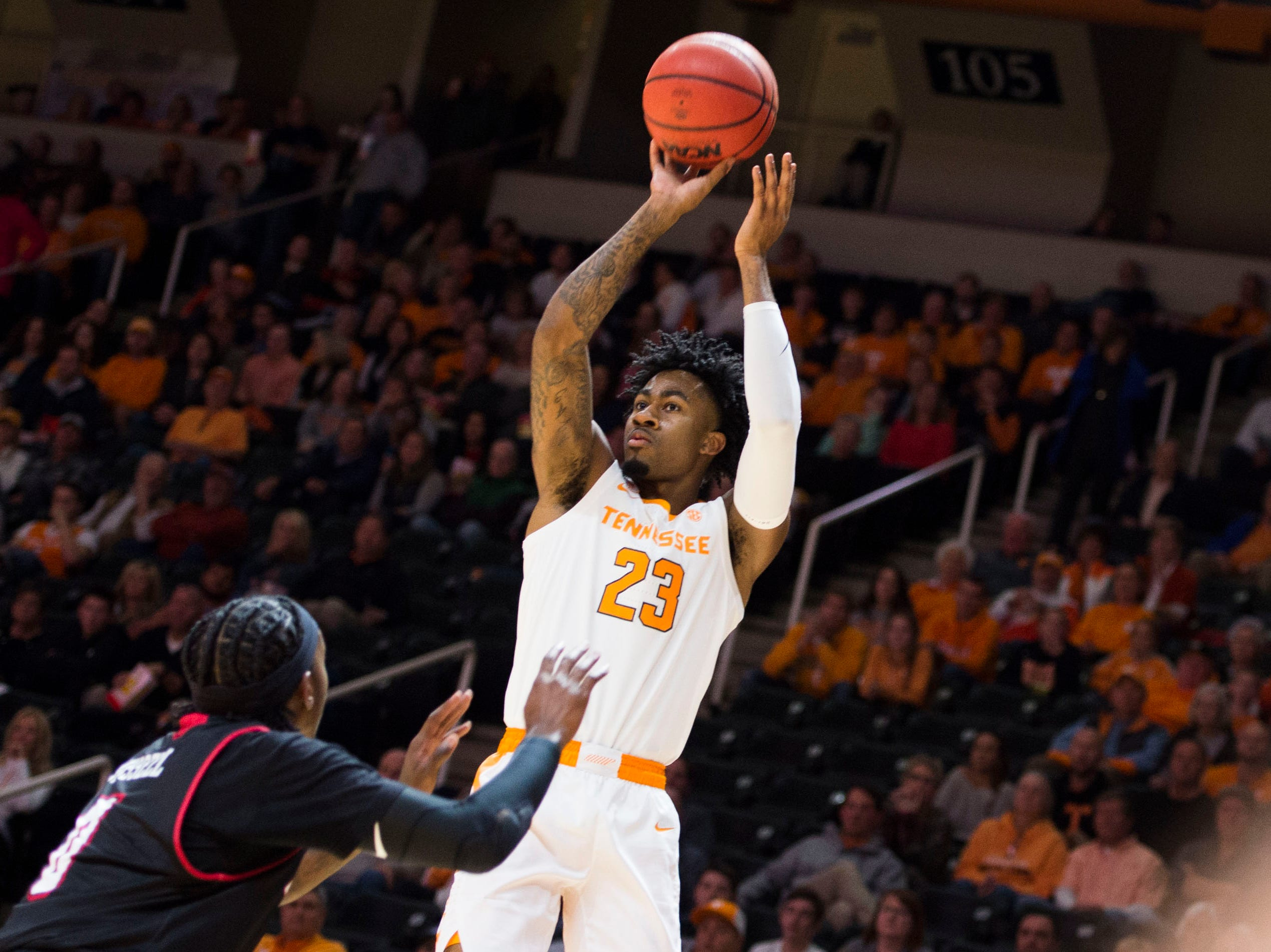 Tennessee's Jordan Bowden (23) takes a shot during a game between Tennessee and Louisiana in Thompson-Boling Arena Friday, Nov. 9, 2018.