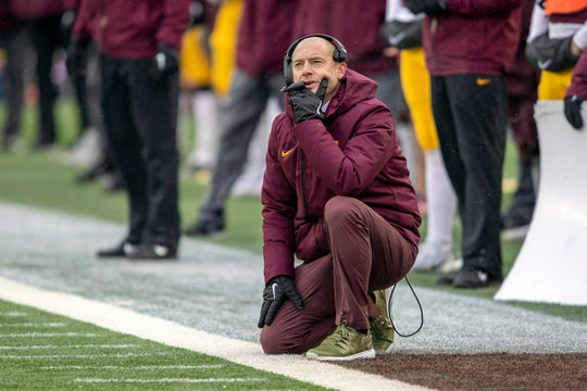 Nov 10, 2018; Minneapolis, MN, USA; Minnesota Golden Gophers head coach P.J. Fleck looks on during the first half against the Purdue Boilermakers at TCF Bank Stadium. Mandatory Credit: Jesse Johnson-USA TODAY Sports