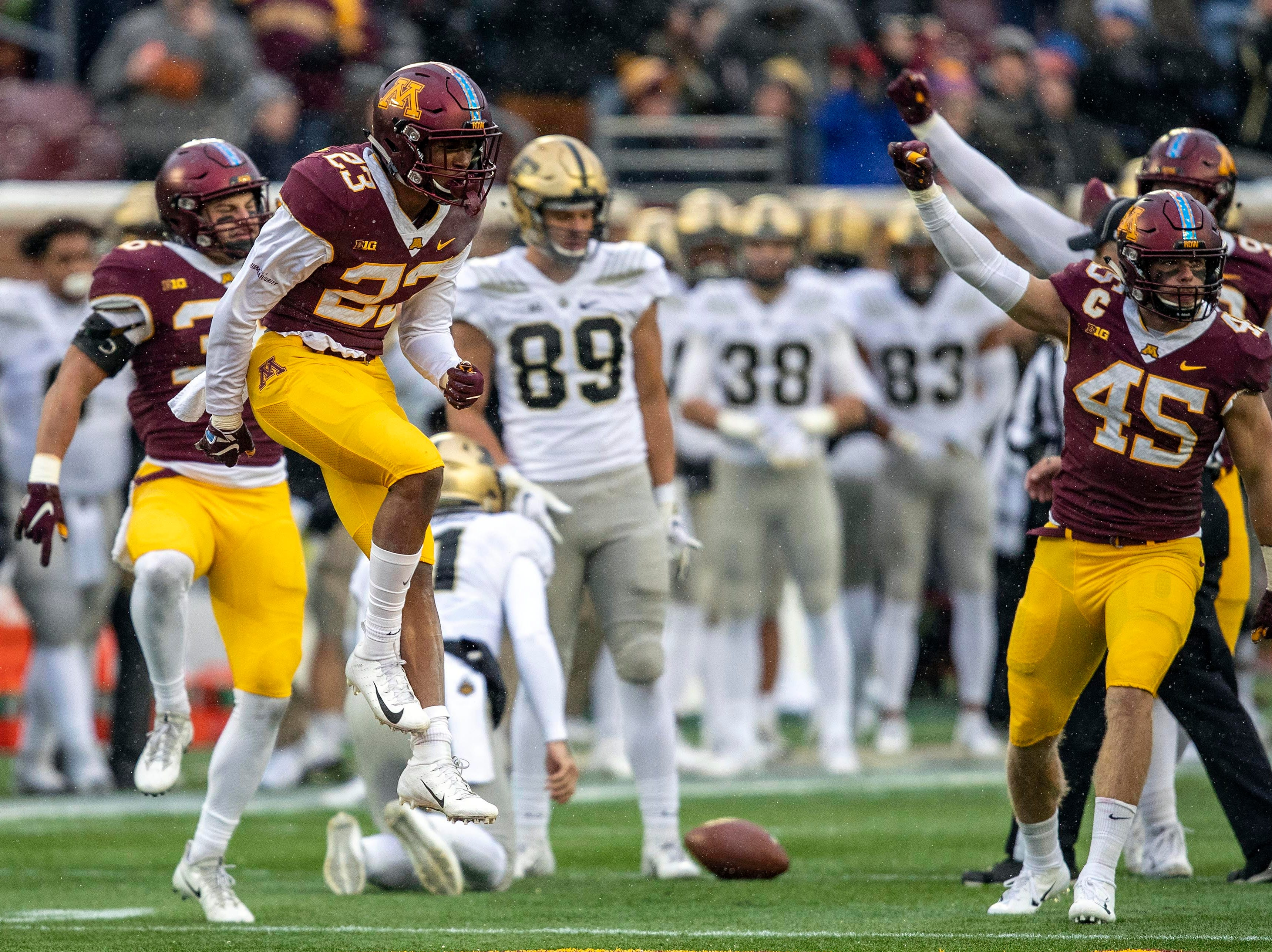 Nov 10, 2018; Minneapolis, MN, USA; Minnesota Golden Gophers defensive back Jordan Howden (23) jumps up and celebrates after stopping the Purdue Boilermakers on fourth down in the first half at TCF Bank Stadium. Mandatory Credit: Jesse Johnson-USA TODAY Sports
