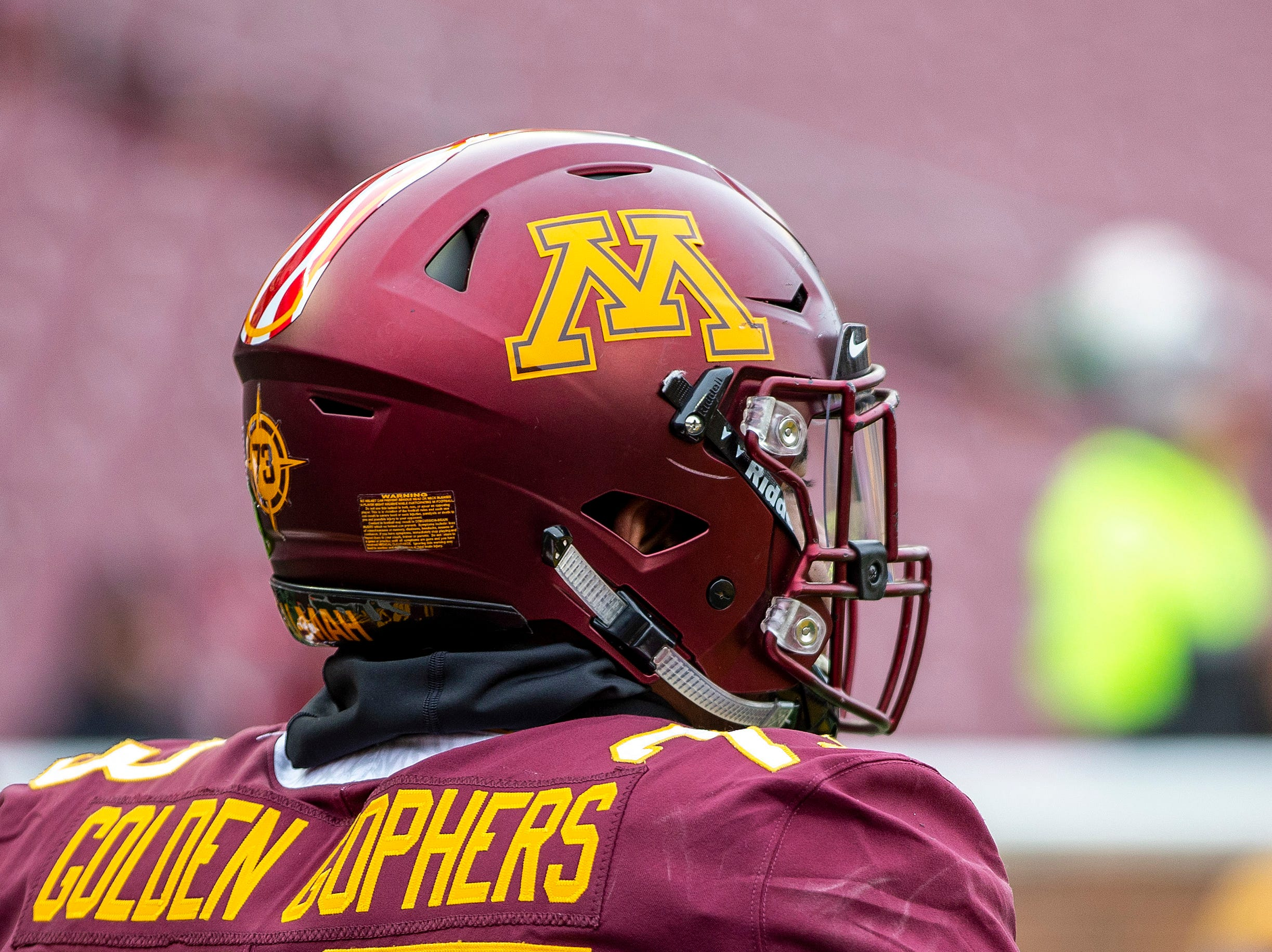Nov 10, 2018; Minneapolis, MN, USA; A general view of a Minnesota Golden Gophers helmets before a game against the Purdue Boilermakers at TCF Bank Stadium. Mandatory Credit: Jesse Johnson-USA TODAY Sports