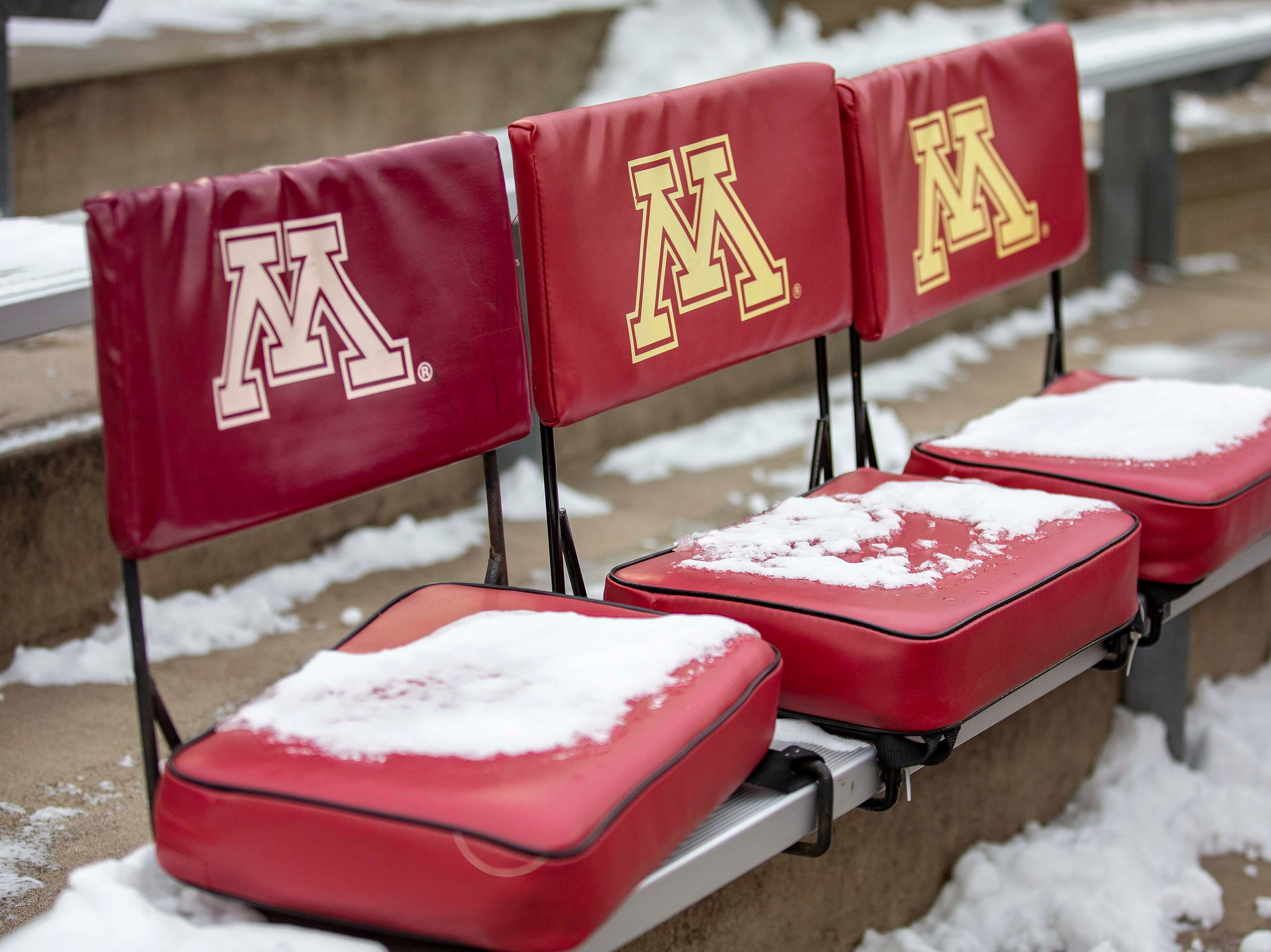 Nov 10, 2018; Minneapolis, MN, USA; Snow covers seats at TCF Bank Stadium before a game between the Purdue Boilermakers and the Minnesota Golden Gophers at TCF Bank Stadium. Mandatory Credit: Jesse Johnson-USA TODAY Sports