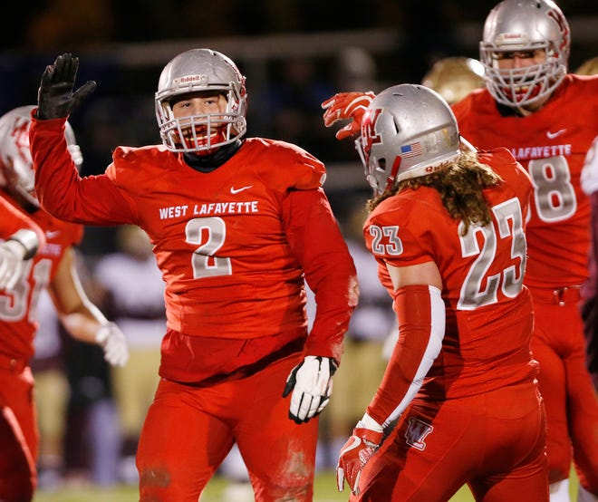 Joey Kidwell of West Lafayette reacts after a defensive stop by Red Devils against Brebeuf in the football regional Friday, November 9, 2018, at Gordon Straley Field in West Lafayette. West Lafayette defeated Brebeuf 24-10.
