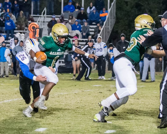 Acadiana halfback Dillan Monette was forced into the role of quarterback in Friday's 38-37 comeback win over Denham Springs.