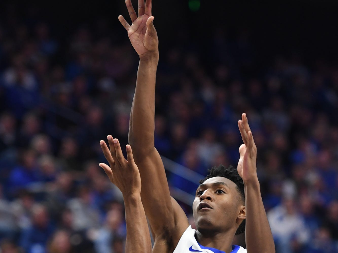 UK G Immanuel Quickley shoots during the University of Kentucky mens basketball game against Southern Illinois at Rupp Arena in Lexington, Kentucky on Friday, November 9, 2018.