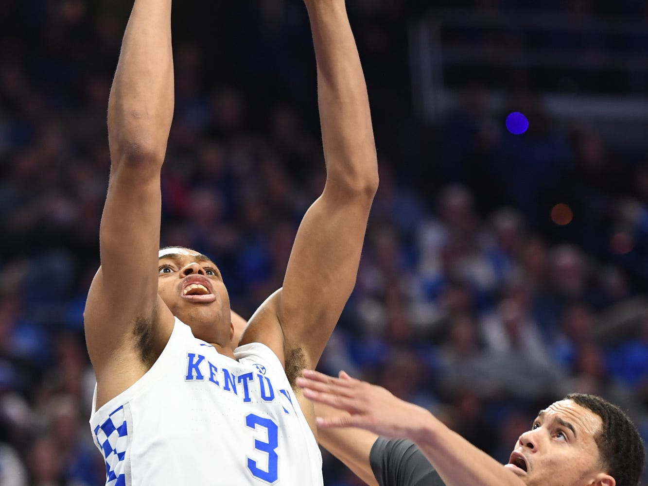 UK G Keldon Johnson puts up the ball during the University of Kentucky mens basketball game against Southern Illinois at Rupp Arena in Lexington, Kentucky on Friday, November 9, 2018.