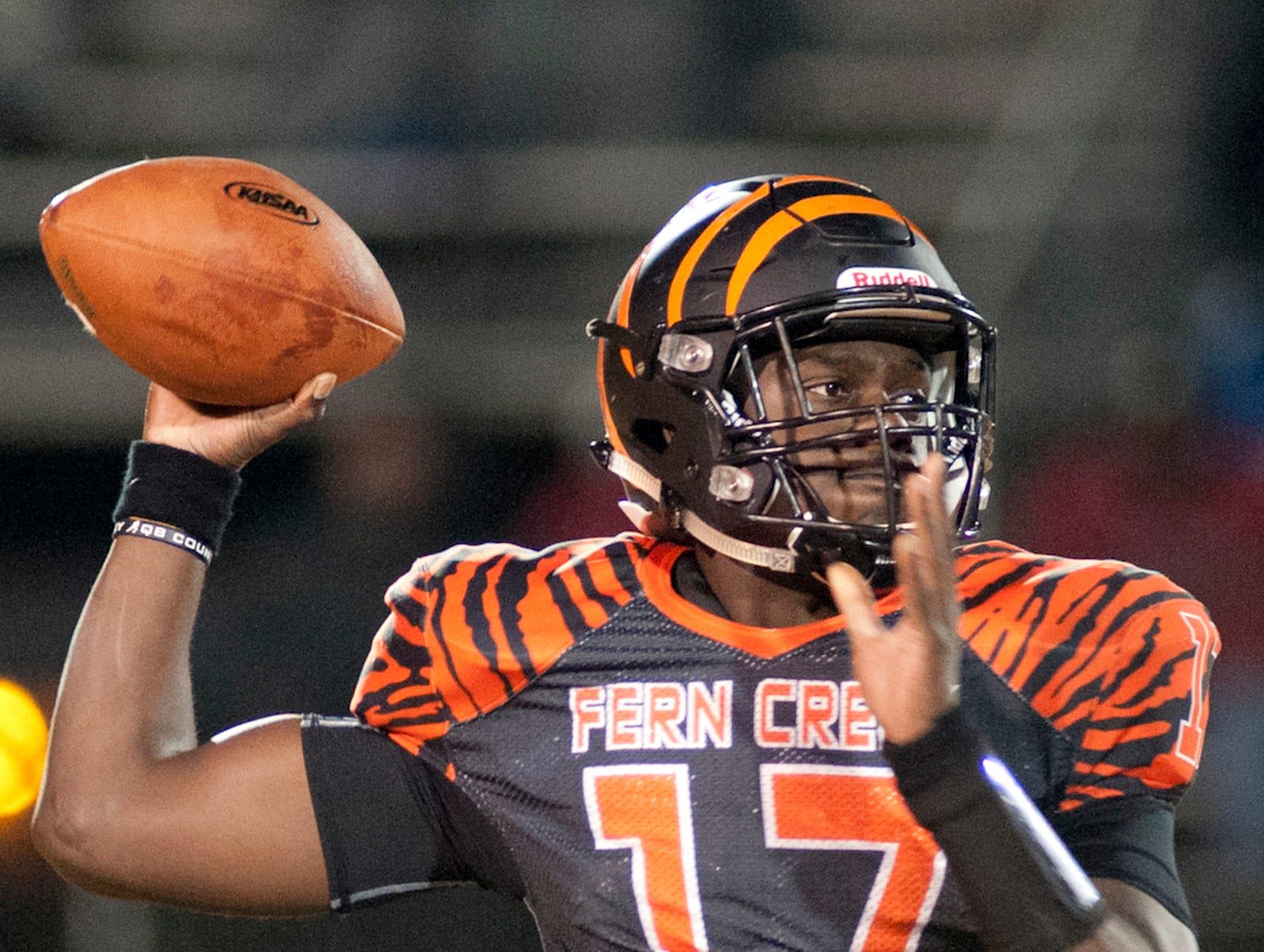 Fern Creek quarterback Isaiah Hester prepares to throw. Nov. 9, 2018