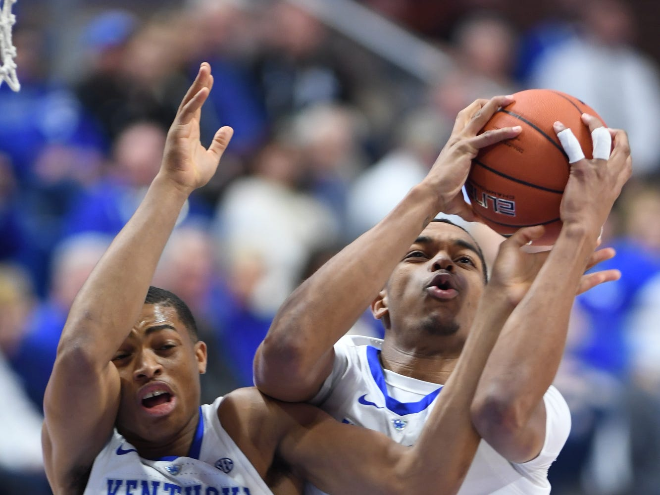 UK F PJ Washington grabs a rebound during the University of Kentucky mens basketball game against Southern Illinois at Rupp Arena in Lexington, Kentucky on Friday, November 9, 2018.