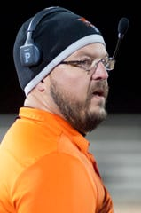 Fern Creek head football coach Joshua Abell watches the action during the game. Nov. 9, 2018