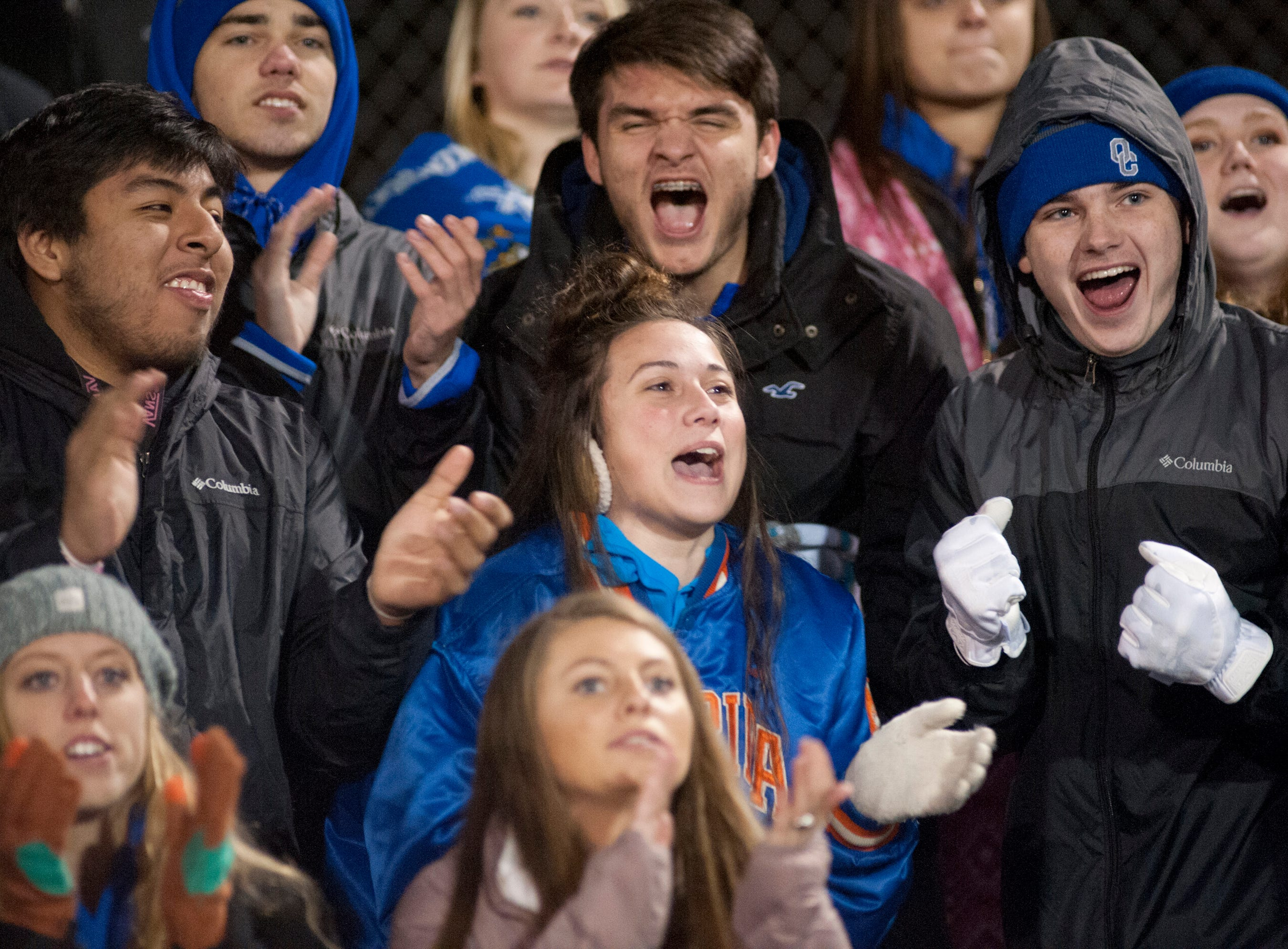 Oldham County fans cheer for their team during the game. Nov. 9, 2018