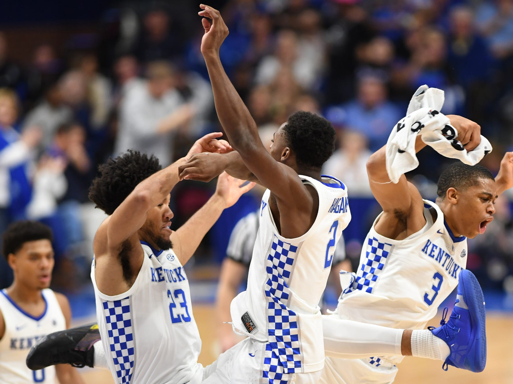 UK players celebrate during the University of Kentucky mens basketball game against Southern Illinois at Rupp Arena in Lexington, Kentucky on Friday, November 9, 2018.