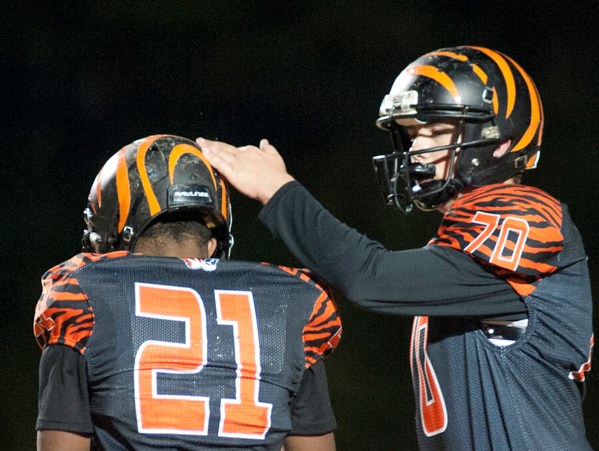 Fern Creek running back Terrance Mitchell scores and is congratulated in the end zone by Fern Creek offensive lineman Alex Martin. Nov. 9, 2018