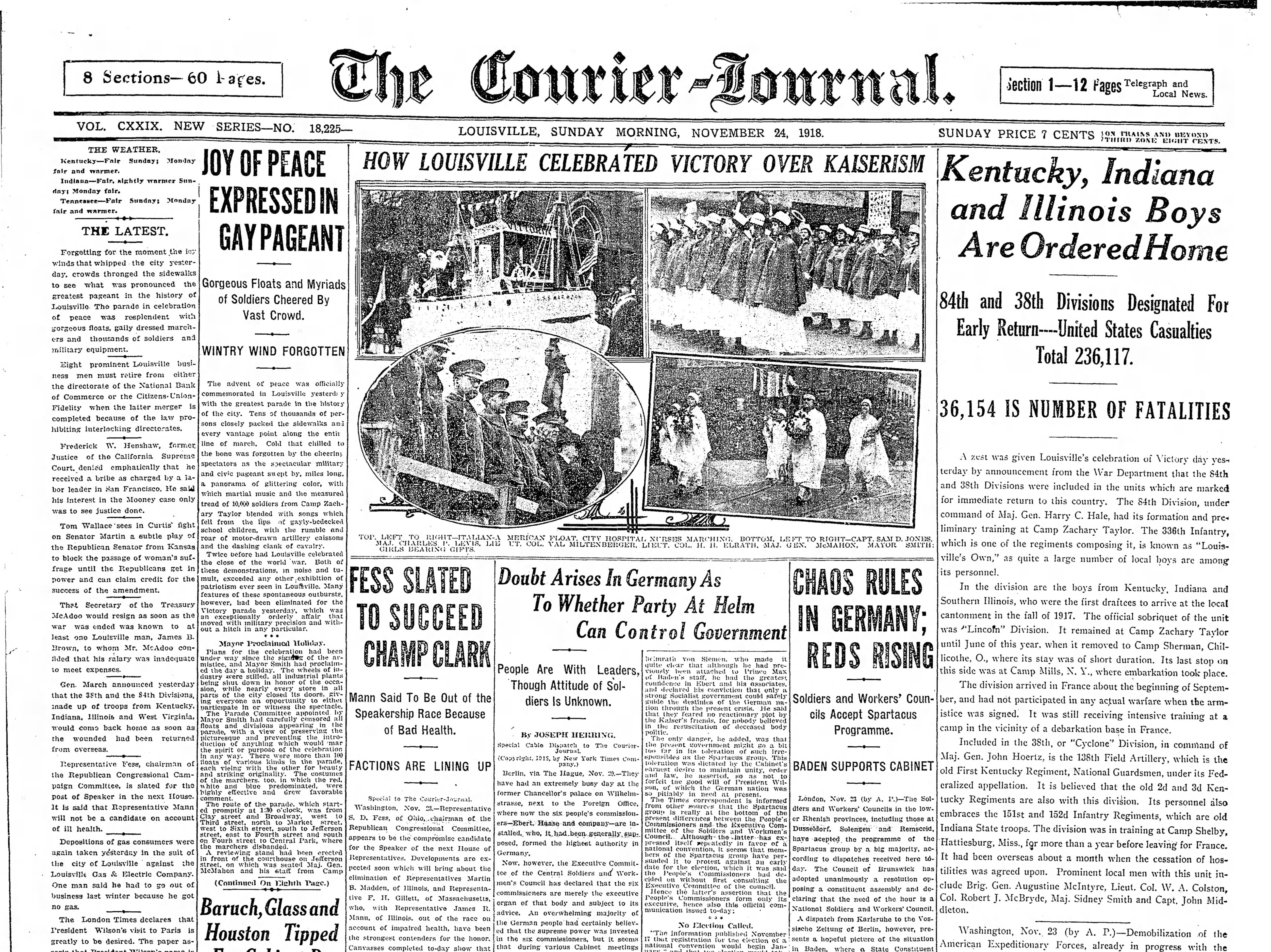 Headlines through World War I.