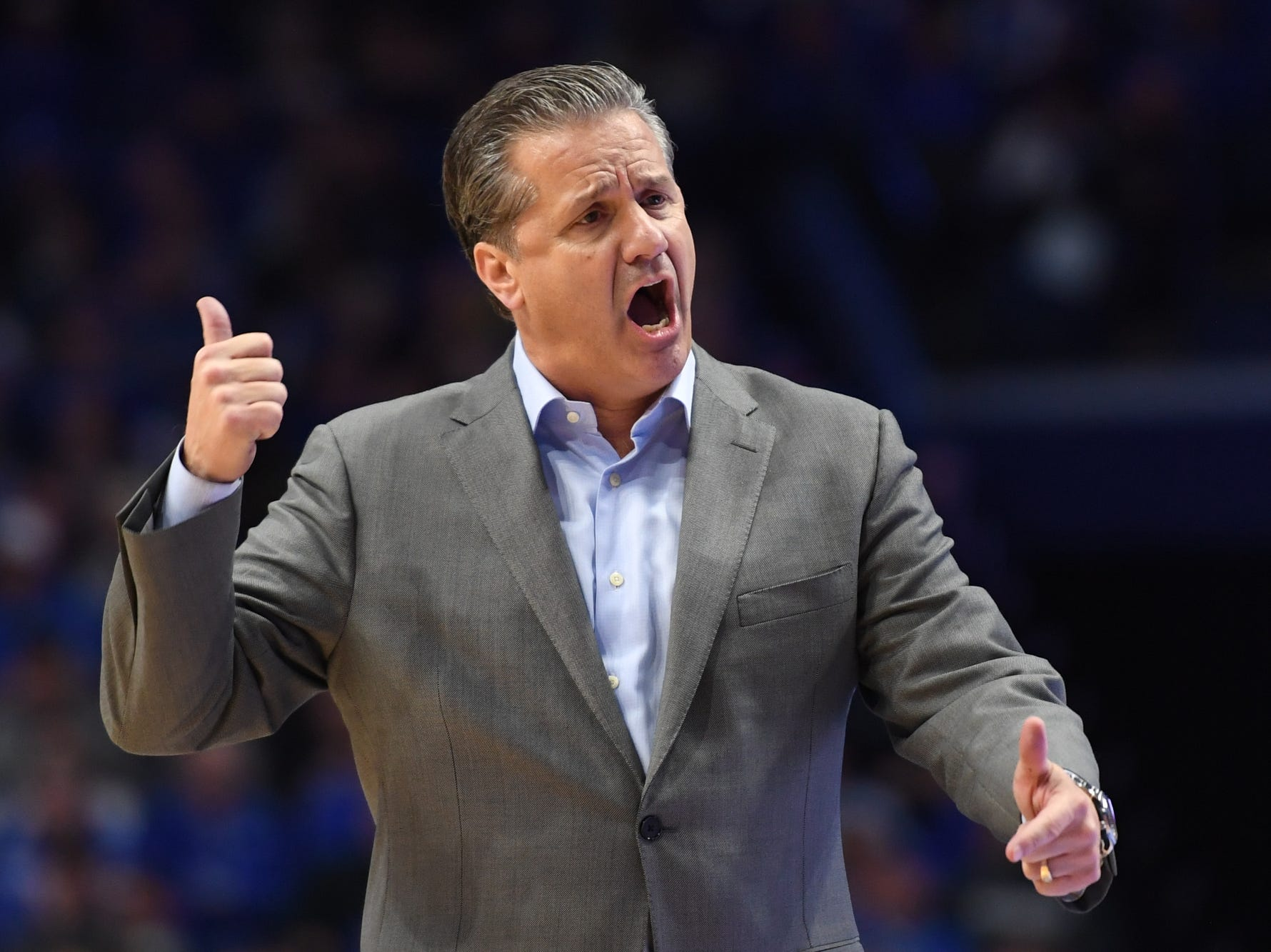 UK head coach John Calipari during the University of Kentucky mens basketball game against Southern Illinois at Rupp Arena in Lexington, Kentucky on Friday, November 9, 2018.