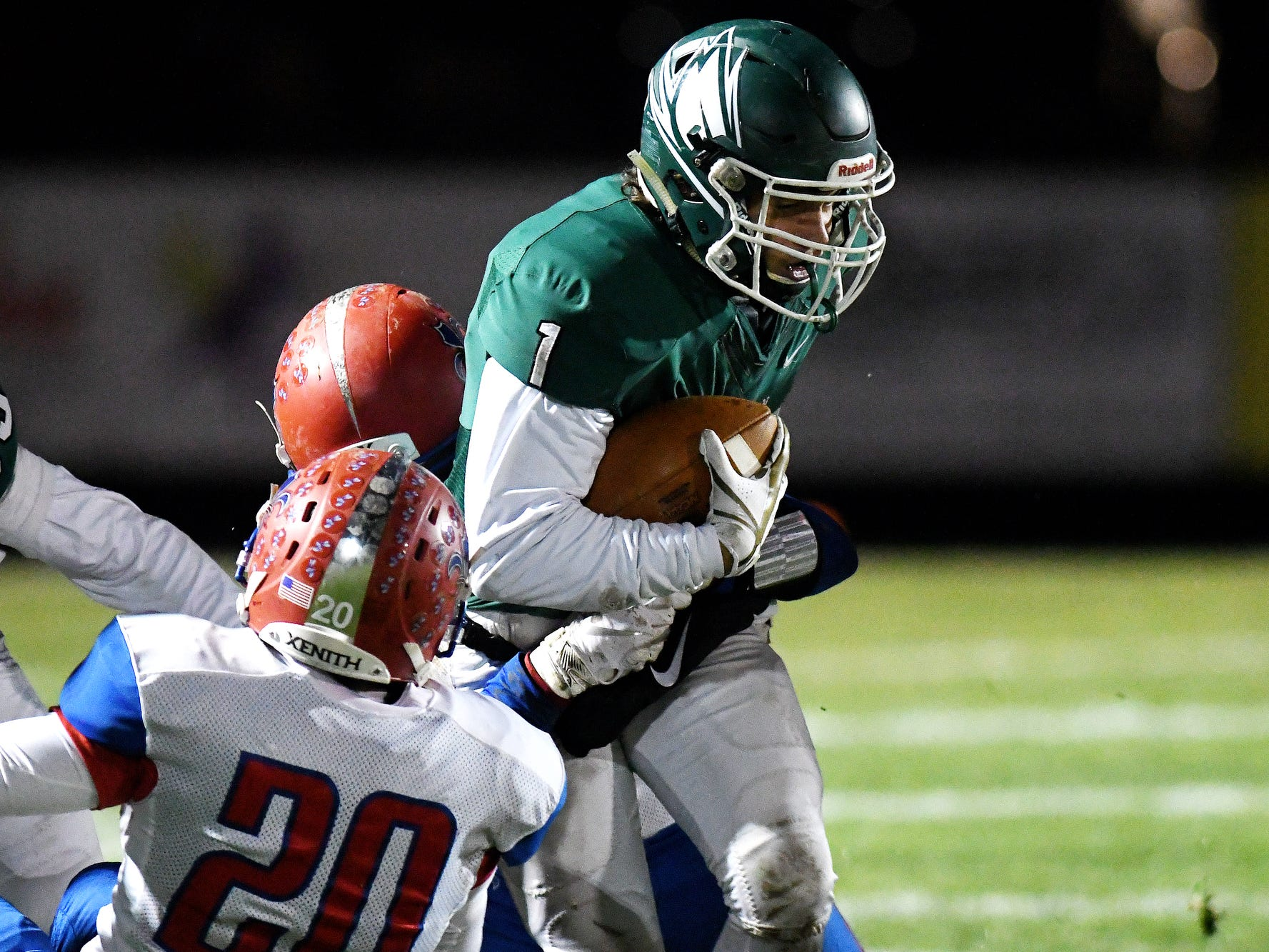 Williamston's Carey Haney is tackled at the end of a run during the second quarter on Friday, Nov. 9, 2018, in Williamston. Williamston defeated St. Clair 28-0 to advance to the state semi-finals.