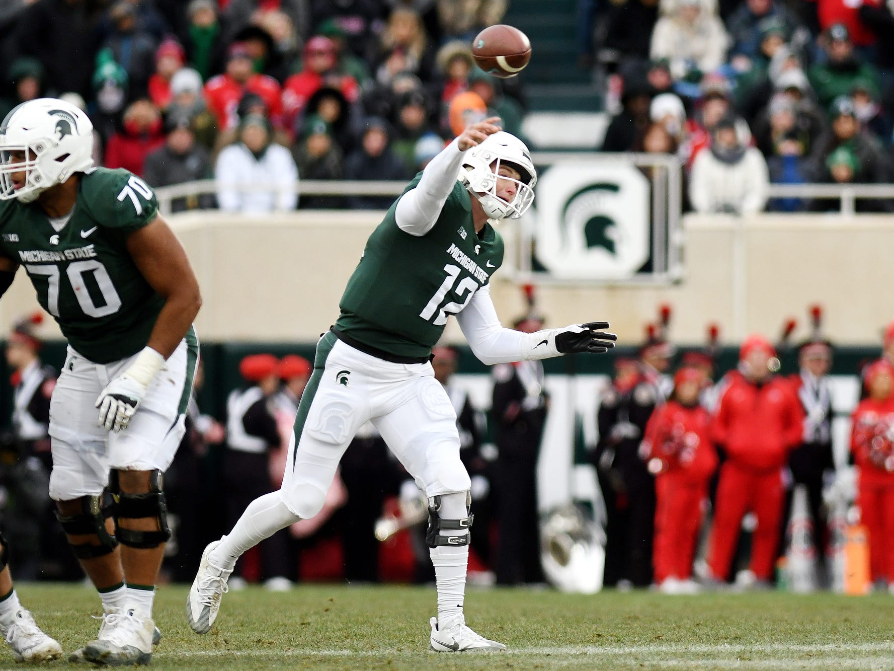 Michigan State's Rocky Lombardi throws a pass during the second quarter on Saturday, Nov. 10, 2018, in East Lansing.