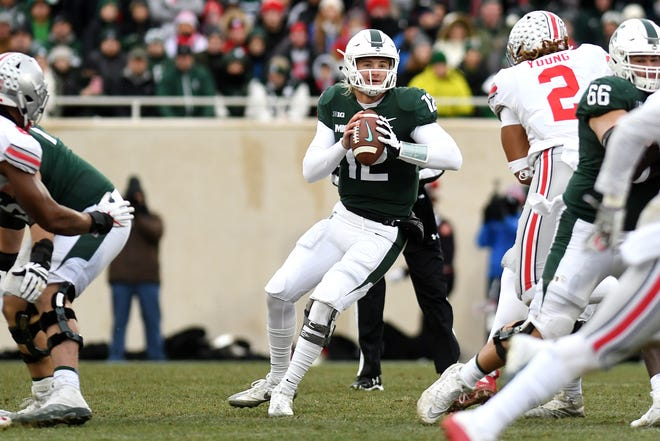 Michigan State's Rocky Lombardi looks to throw during the second quarter on Saturday, Nov. 10, 2018, in East Lansing.