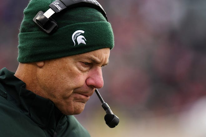 Michigan State's head coach Mark Dantonio walks the sideline during the second quarter on Saturday, Nov. 10, 2018, in East Lansing.