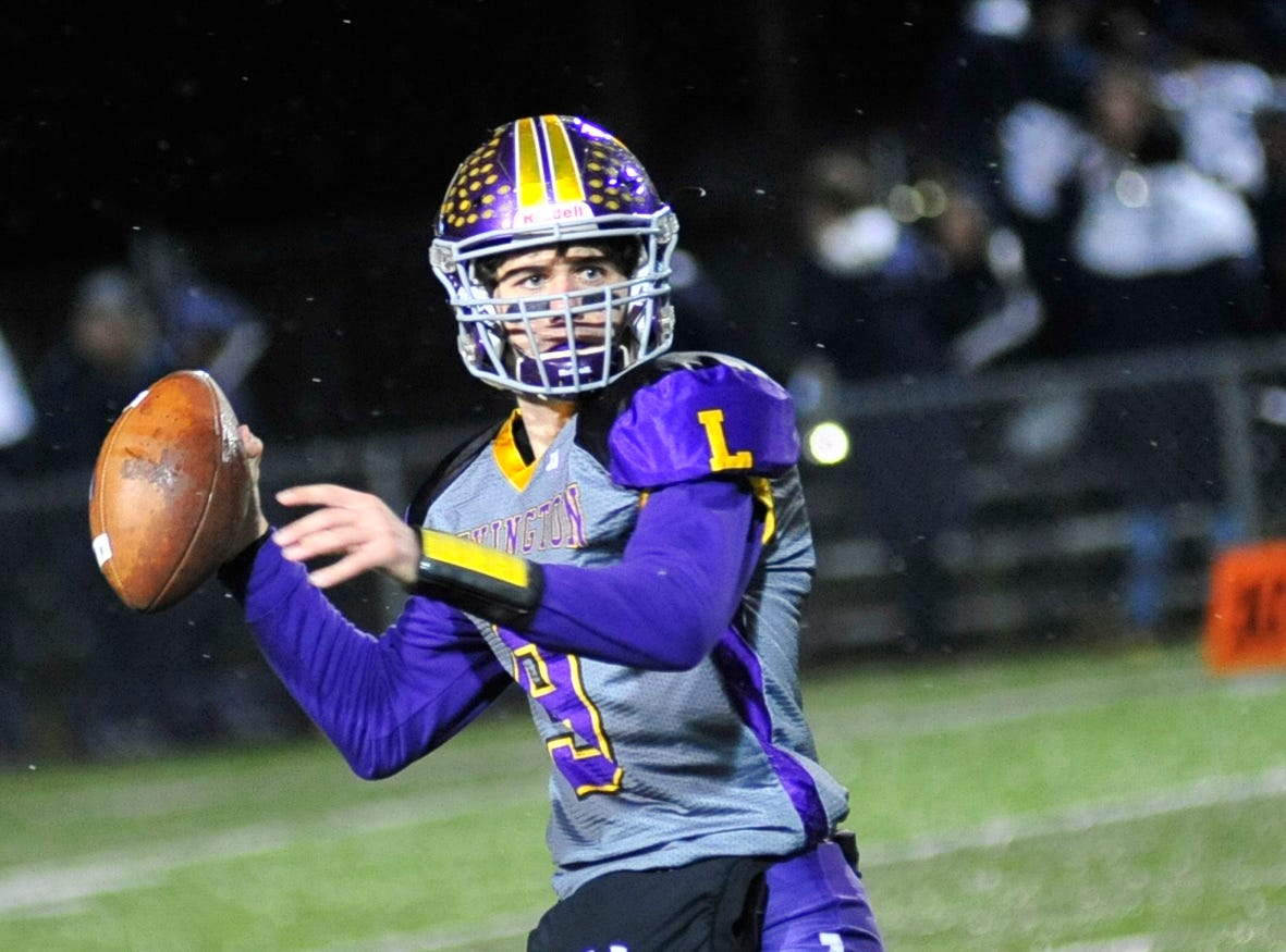 Lexington's Jake Depperschmidt makes a pass while playing against Sandusky at Willard High School on Friday.