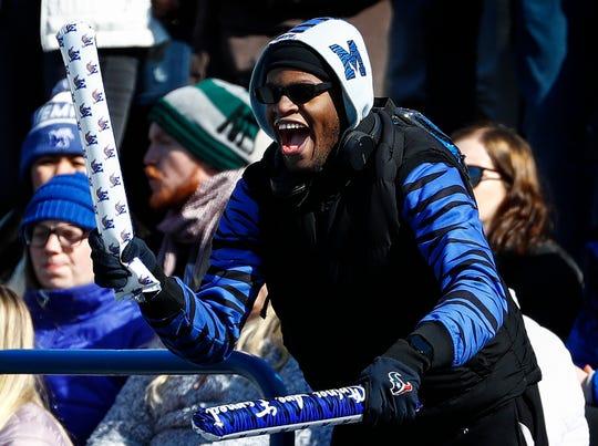 Memphis fans celebrate during action against Tulsa in Memphis, Tenn., Saturday, November 10, 2018.