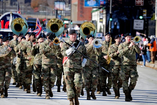 Members of the 484th Army Band in Milwaukee performing during the 2018 Veterans Day parade. The 2019 Veterans Day event, this Saturday starting at 11 a.m. at the Milwaukee War Memorial, includes a salute to veterans of World War II.