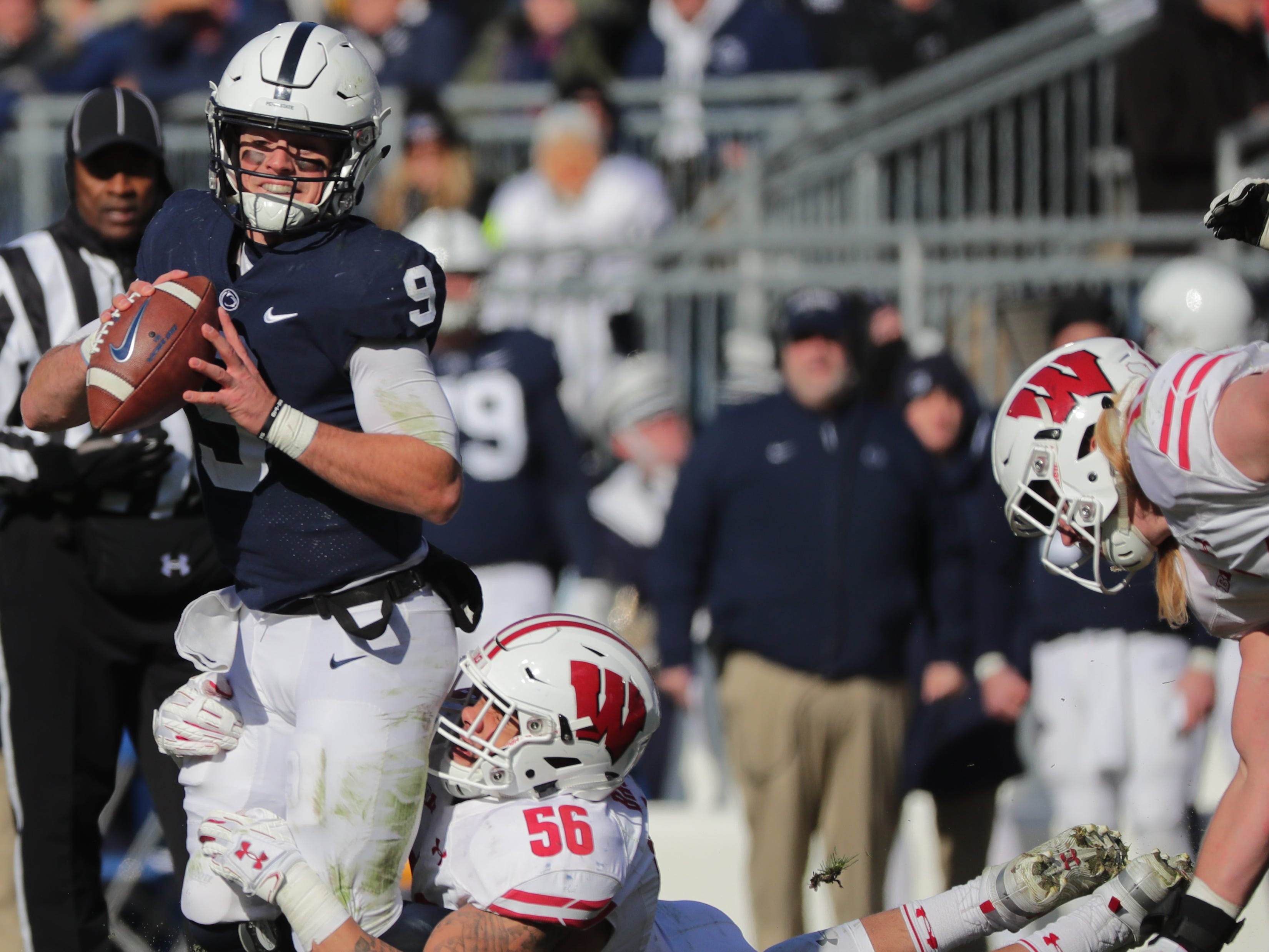 Penn State quarterback Trace McSorley is sacked by Wisconsin linebacker Zack Baun during the second  quarter Saturday.