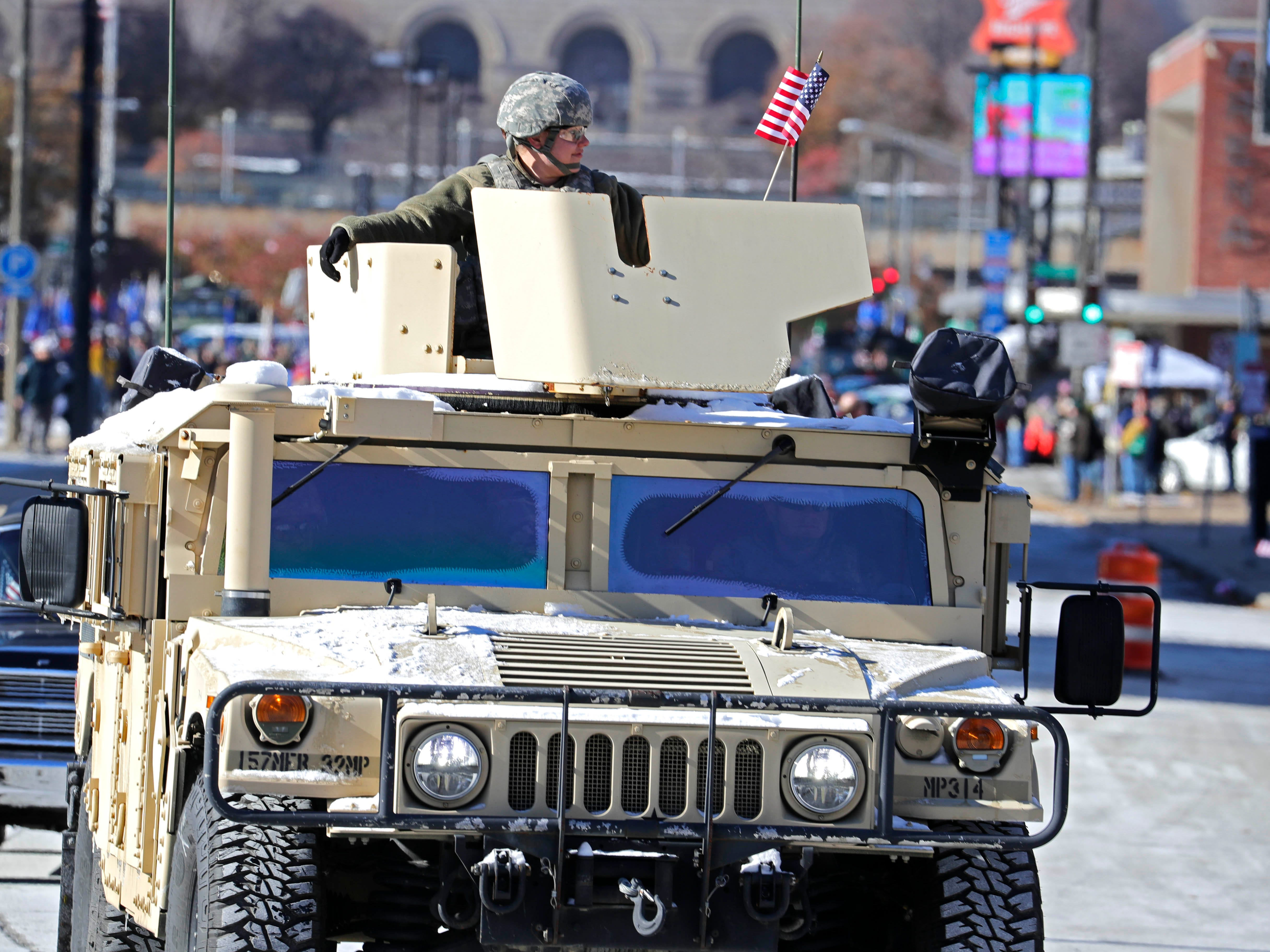 Military vehicles from several wars, including one from the Iraq War, were on display during the Milwaukee Veterans Day parade on Saturday. Ninety to 100 units participated in the parade, which commemorated  the centennial of the World War I armistice. A memorial service was also held at the Milwaukee County War Memorial.