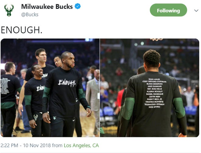 """The Bucks wore """"Enough"""" shirts as a tribute to shooting victims in Thousand Oaks, California, on Saturday."""