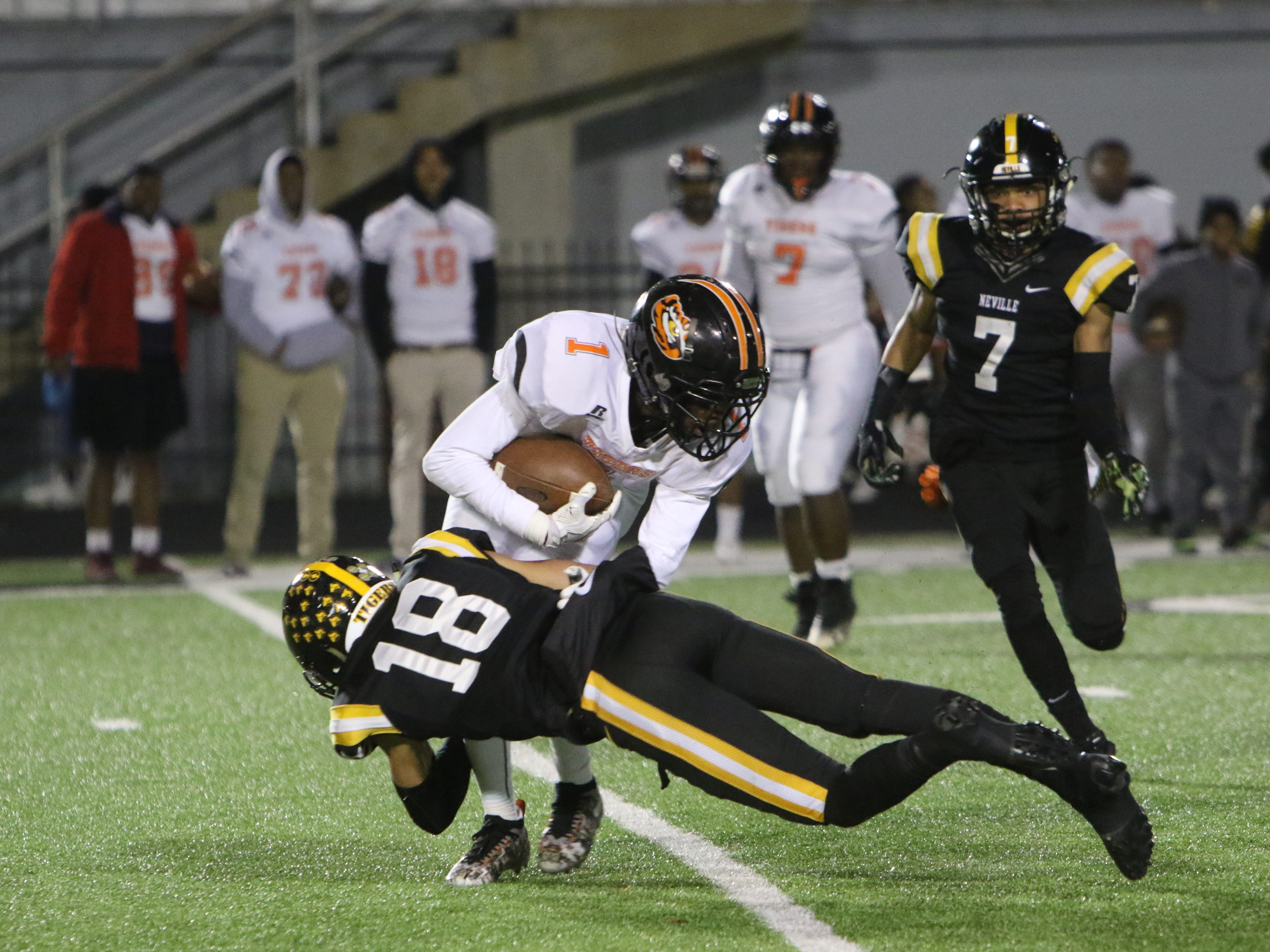 Neville defeats Opelousas 55-28 in the first round of playoff football at Neville High School in Monroe, La. on Nov. 9.
