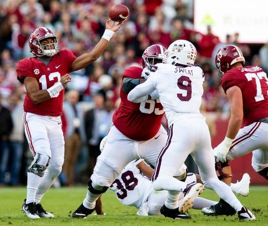 Alabama quarterback Tua Tagovailoa (13) posses against Mississippi State in first half action at Bryant Denny Stadium in Tuscaloosa, Ala., on Saturday November 9, 2018.