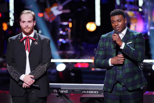 "Albertville native Colton Smith, left, and Montgomery resident and Bay Minette native Kirk Johnson hear from the coaches during their knockout round on ""The Voice."""