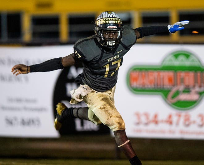 Wetumpka's Brandon Bowman (17) celebrates a touchdown run against Daphne at Hohenburg Field in Wetumpka, Ala., on Friday November 9, 2018.