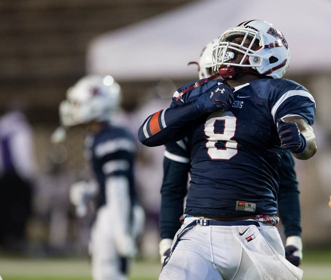 Park Crossing's Marcus Harris (8) reacts after a defensive stop during the first round of the Class 6A playoffs at Cramton Bowl in Montgomery, Ala., on Friday, Nov. 9, 2018.