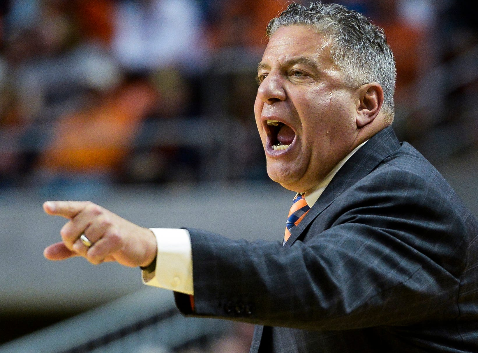 Nov 9, 2018; Auburn, AL, USA; Auburn Tigers head coach Bruce Pearl talks with the team during the first half against the Washington Huskies at Auburn Arena. Mandatory Credit: Julie Bennett-USA TODAY Sports