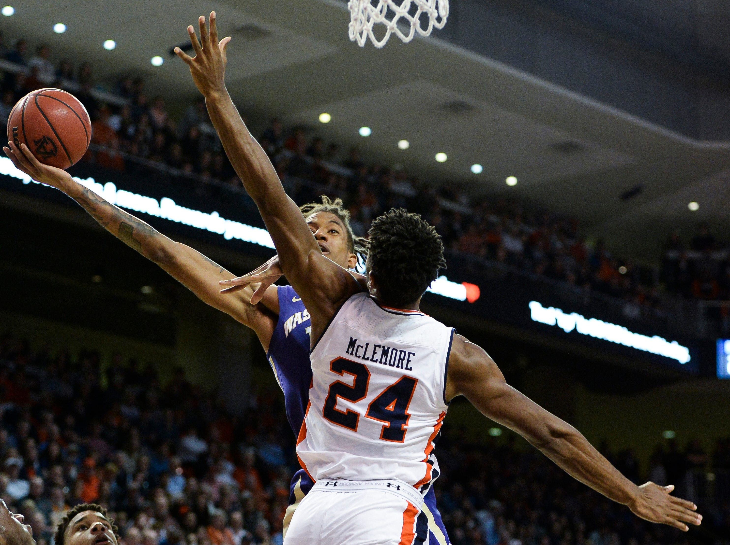 Nov 9, 2018; Auburn, AL, USA; Washington Huskies forward Hameir Wright (13) shoots over Auburn Tigers forward Anfernee McLemore (24) at Auburn Arena. Mandatory Credit: Julie Bennett-USA TODAY Sports