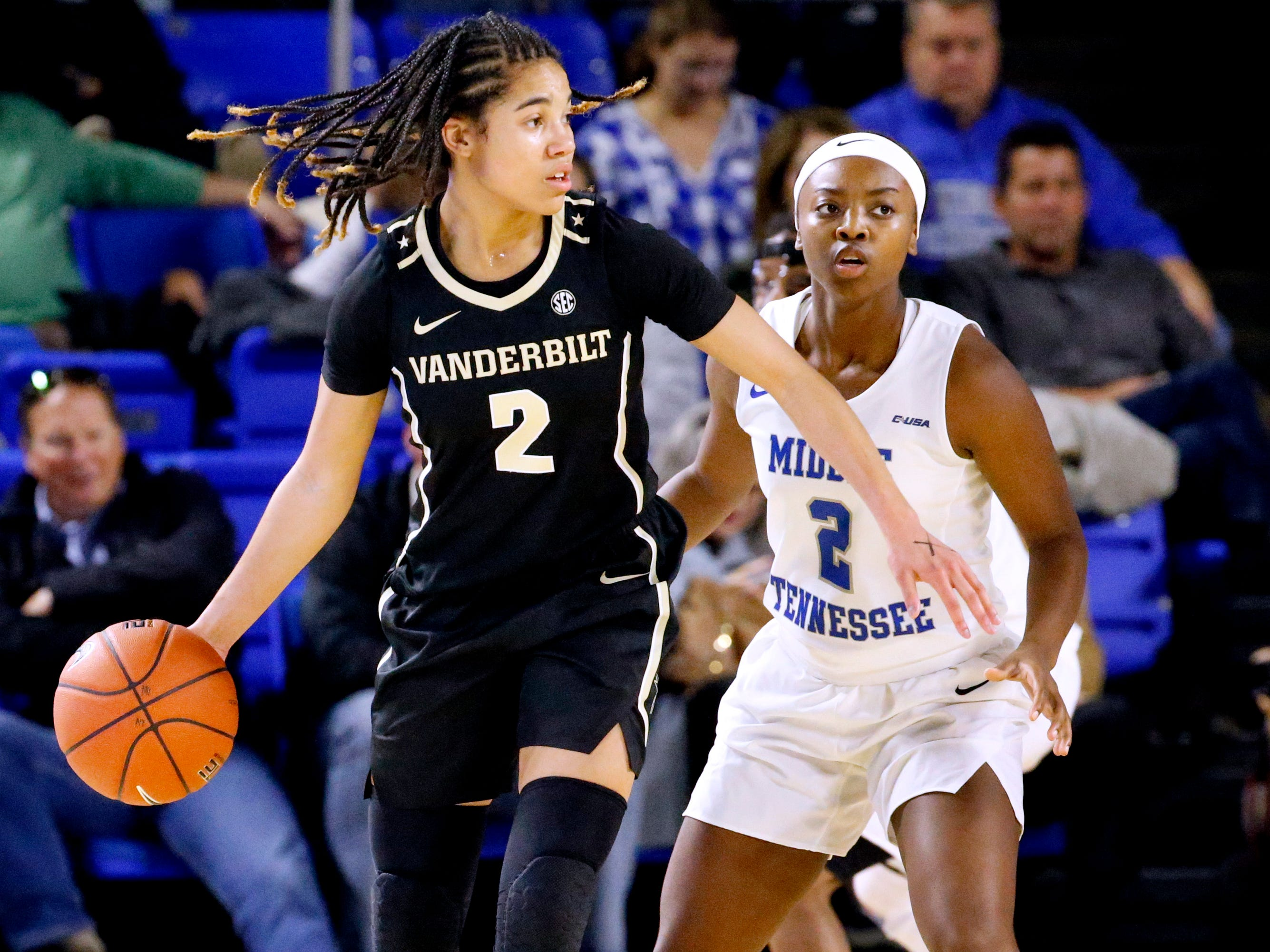 Vanderbilt's Chelsie Hall (2) looks for an open player to pass to as MTSU's Taylor Sutton (2) stands behind her during the MTSU women's home opening game at MTSU on Friday, Nov. 8, 2018.