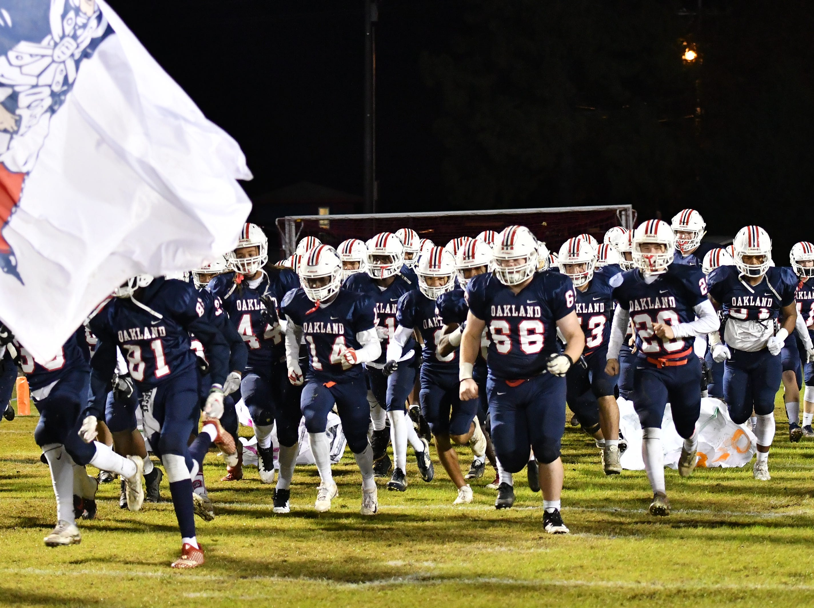 The Oakland football team takes the field Friday night in their playoff game against Hendersonville.