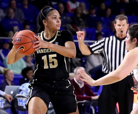 Vanderbilt's Brinae Alexander (15) looks for an open player to pass to as MTSU's Jess Louro (12) guards her during the women's home opening game at MTSU on Friday, Nov. 8, 2018.