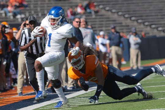 MTSU running back Terelle West runs the ball during the Blue Raiders' 48-32 win over UTEP on Nov. 10, 2018.