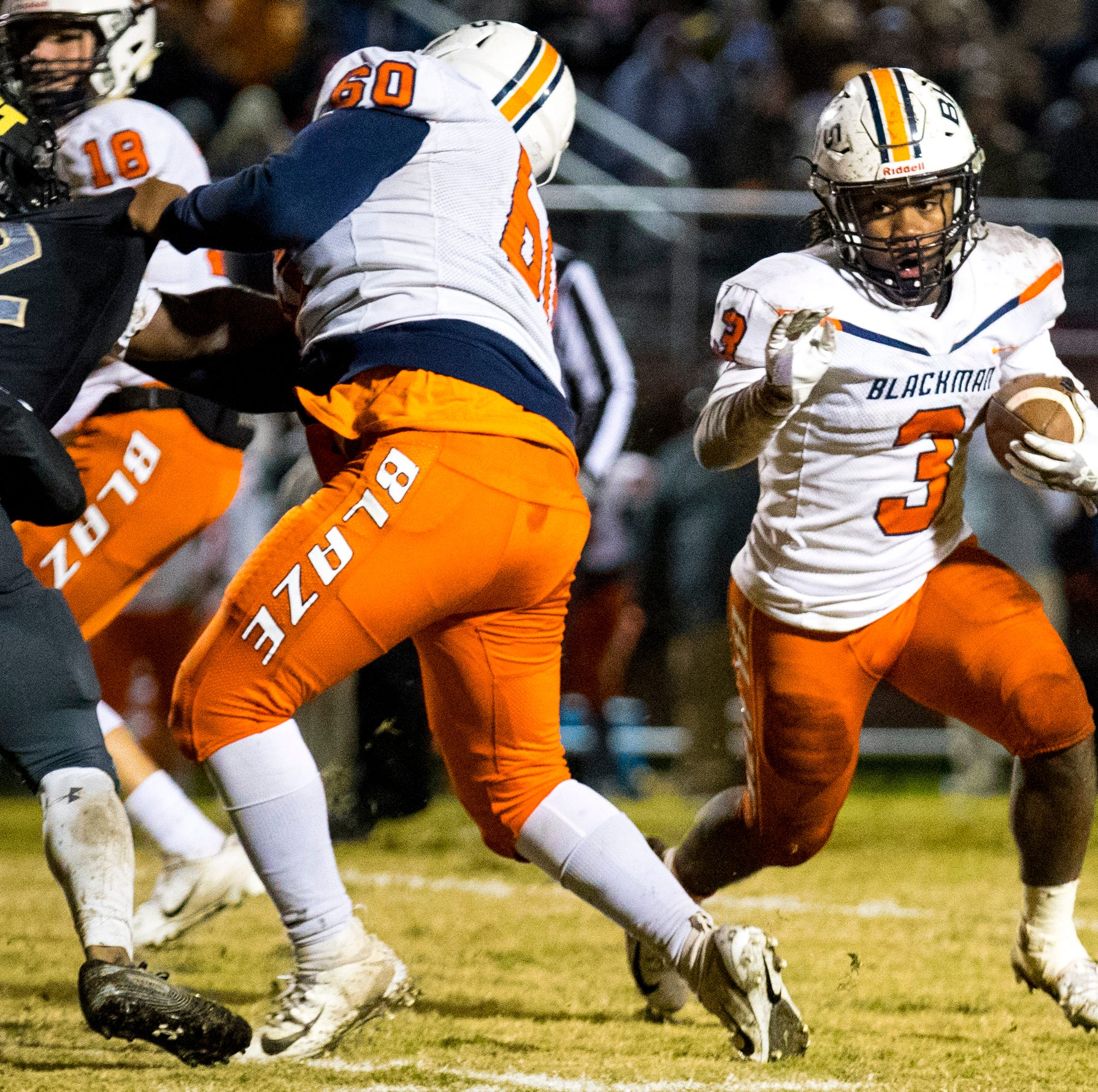 Blackman's Ta'Micus Napier (3) runs the ball during Mt. Juliet's game against Blackman at Mt. Juliet High School in Mt. Juliet on Friday, Nov. 9, 2018.