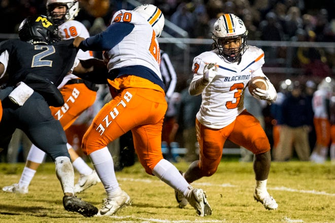 Blackman's Ta'Micus Napier (3) is expected to sign a college scholarship in February.