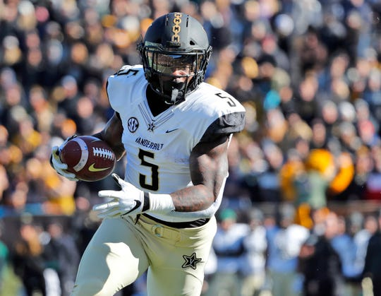 Vanderbilt running back Ke'Shawn Vaughn runs into the end zone after catching a pass against Missouri on Nov. 10.
